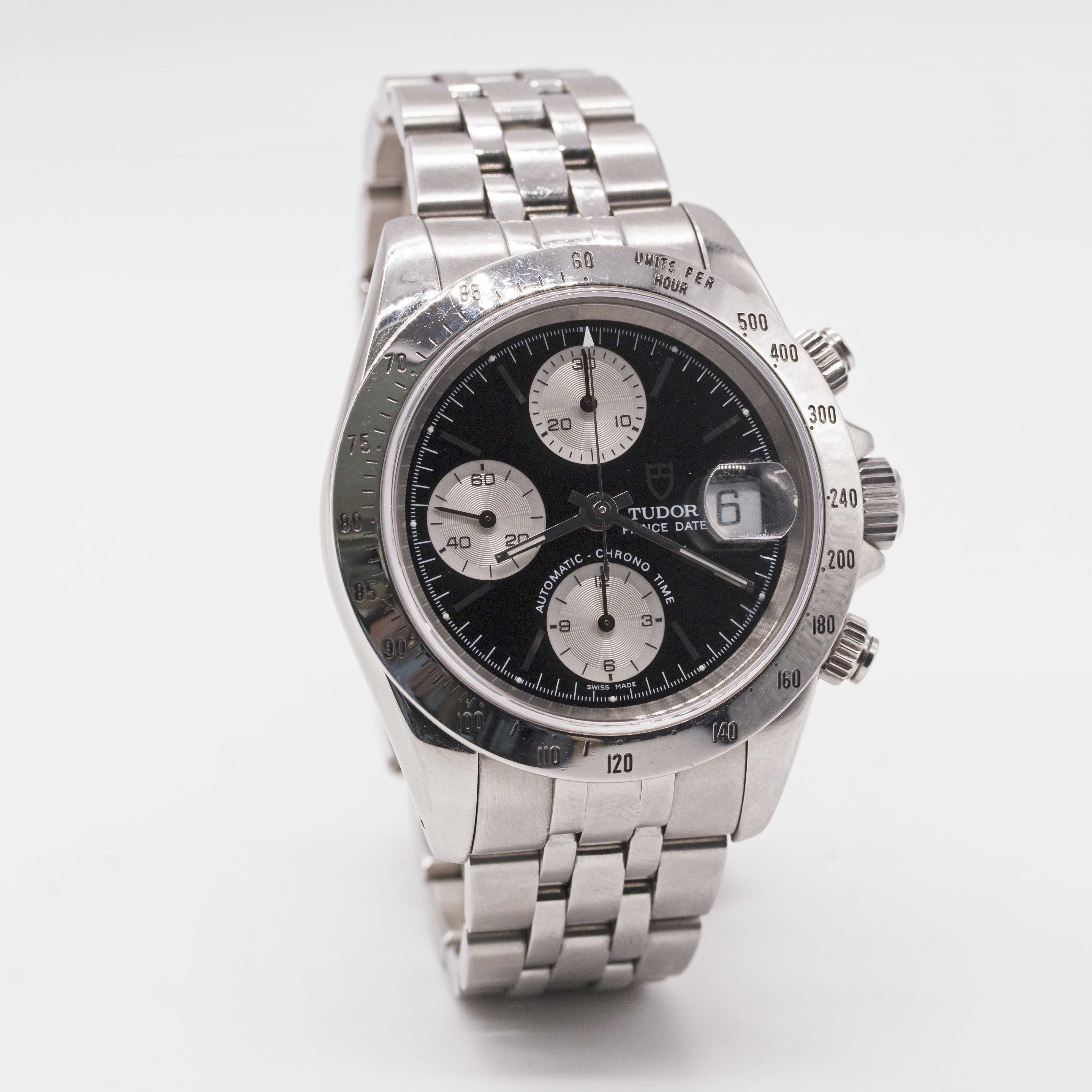 Lot 4 - A GENTLEMAN'S STAINLESS STEEL ROLEX TUDOR PRINCE DATE AUTOMATIC CHRONO TIME CHRONOGRAPH BRACELET