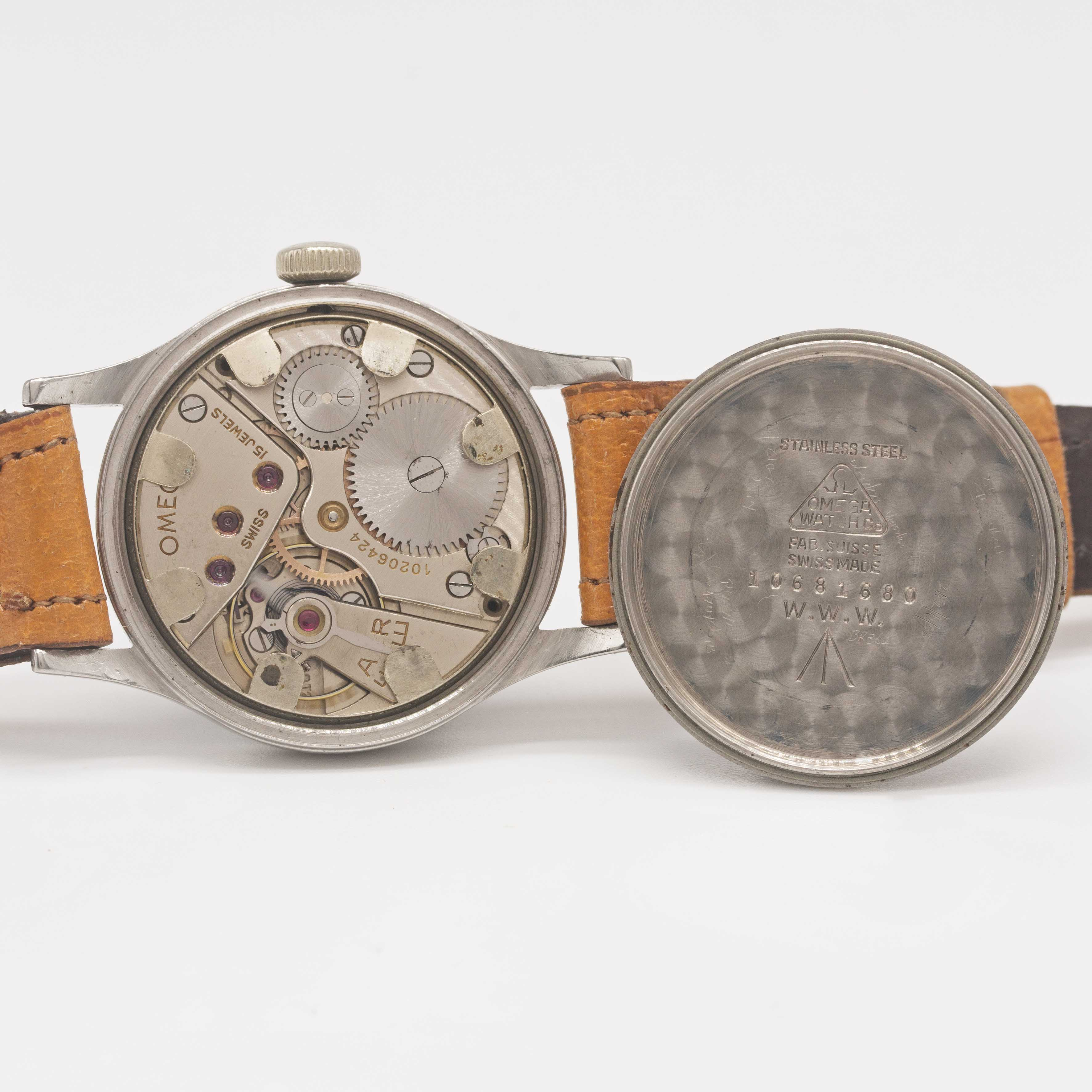 Lot 31 - A GENTLEMAN'S STAINLESS STEEL BRITISH MILITARY OMEGA W.W.W. WRIST WATCH CIRCA 1945, PART OF THE ""