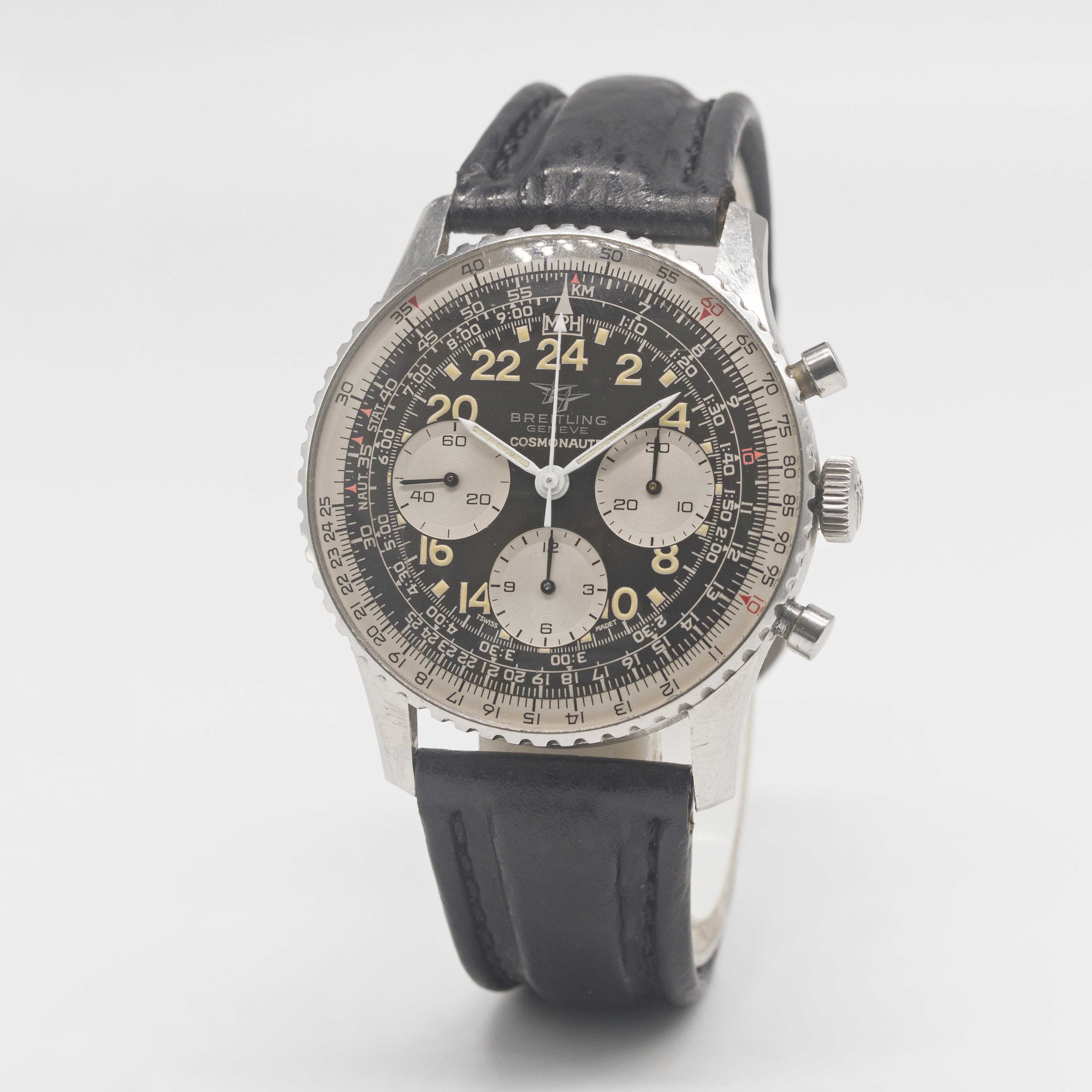 """Lot 26 - A GENTLEMAN'S STAINLESS STEEL BREITLING 24 HOUR """"COSMONAUTE"""" CHRONOGRAPH WRIST WATCH CIRCA 1965,"""