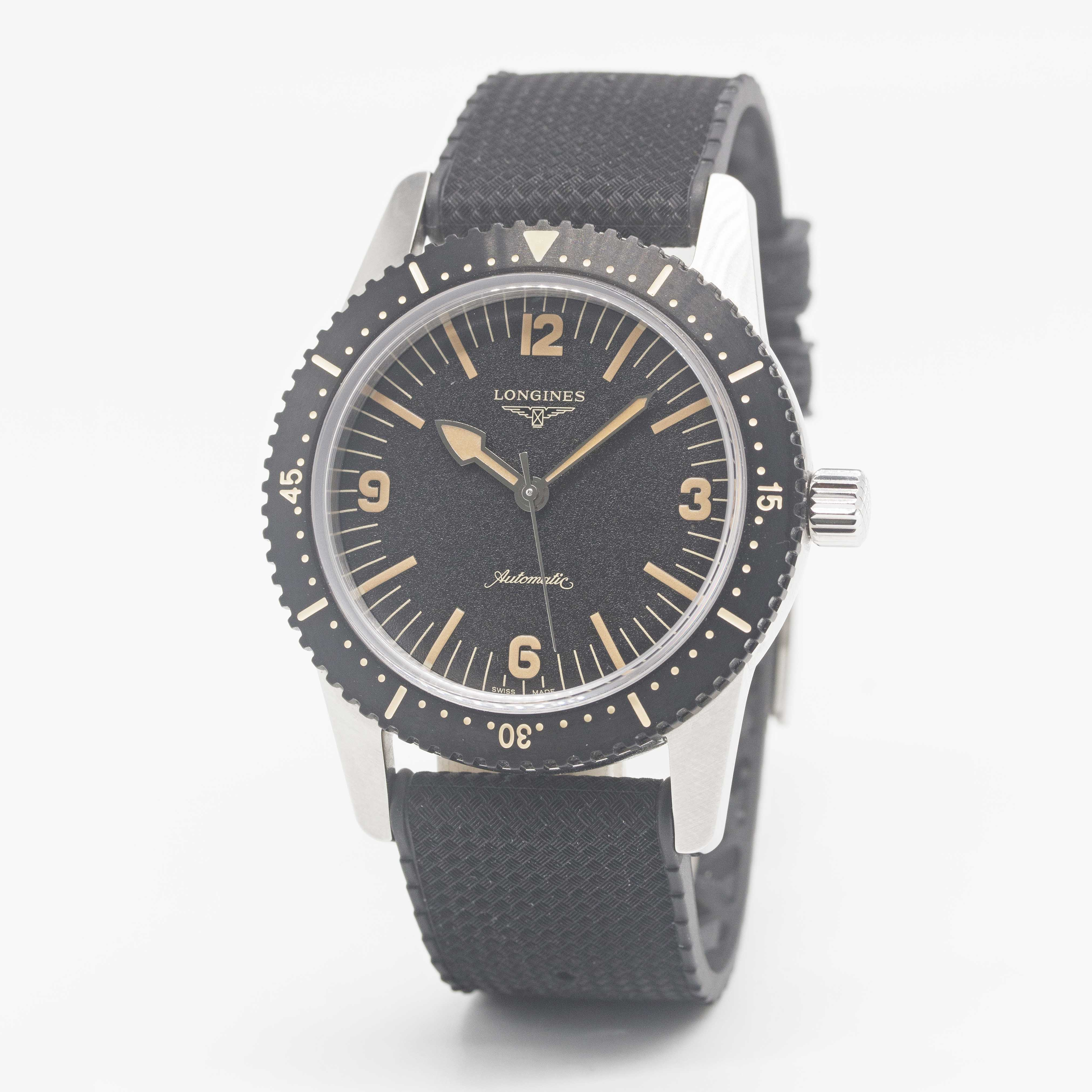 Lot 3 - A GENTLEMAN'S STAINLESS STEEL LONGINES HERITAGE SKIN DIVER WRIST WATCH DATED 2020, REF. L28224569