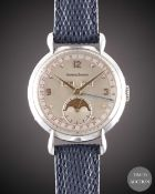 A GENTLEMAN'S LARGE SIZE STAINLESS STEEL JAEGER LECOULTRE TRIPLE CALENDAR MOONPHASE WRIST WATCH