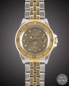 A LADIES STEEL & GOLD ROLEX TUDOR PRINCE OYSTERDATE MINI SUB BRACELET WATCH CIRCA 1993, REF. 73091