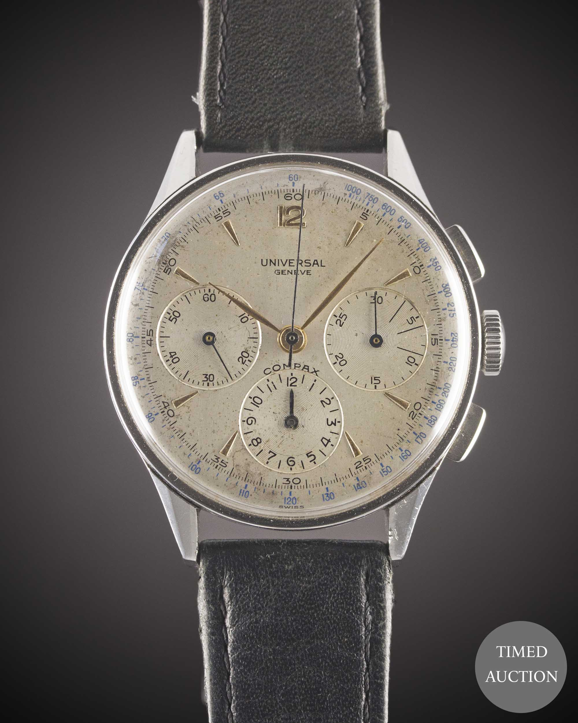 Lot 24 - A GENTLEMAN'S LARGE SIZE STAINLESS STEEL UNIVERSAL GENEVE COMPAX CHRONOGRAPH WRIST WATCH CIRCA 1950,