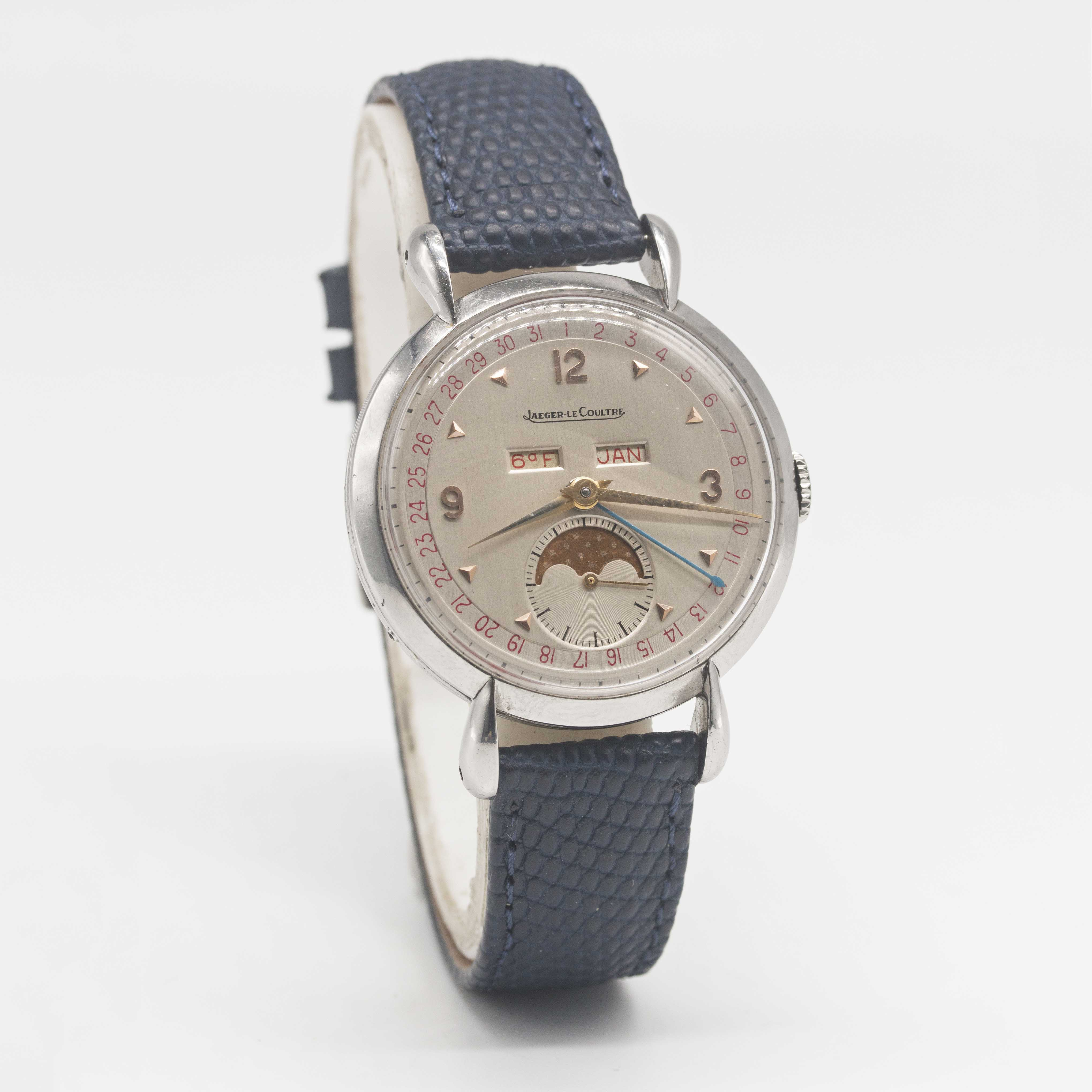 Lot 20 - A GENTLEMAN'S LARGE SIZE STAINLESS STEEL JAEGER LECOULTRE TRIPLE CALENDAR MOONPHASE WRIST WATCH