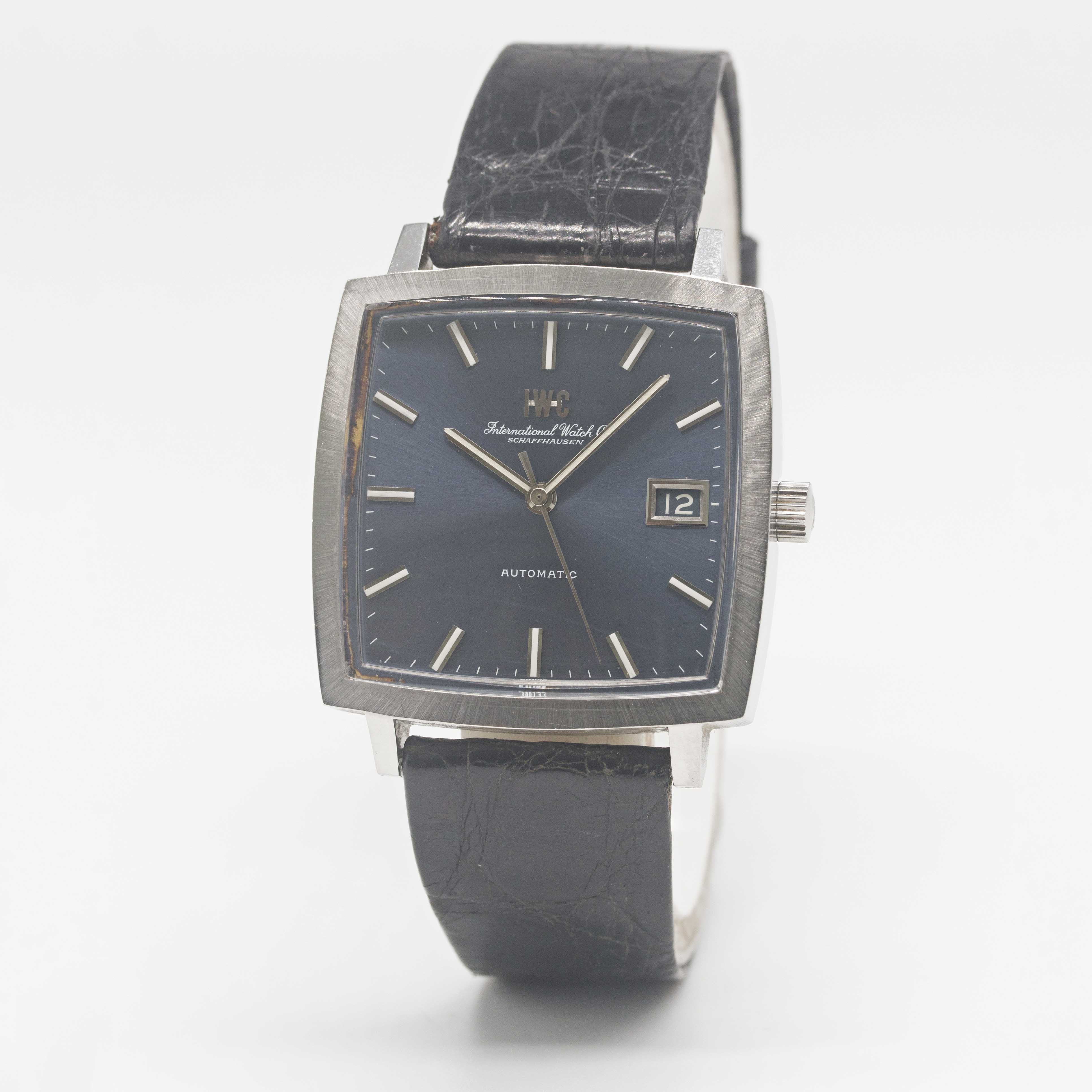 """Lot 10 - A GENTLEMAN'S STAINLESS STEEL IWC """"TV"""" AUTOMATIC WRIST WATCH CIRCA 1970s, REF. 1871 WITH SUNBURST"""