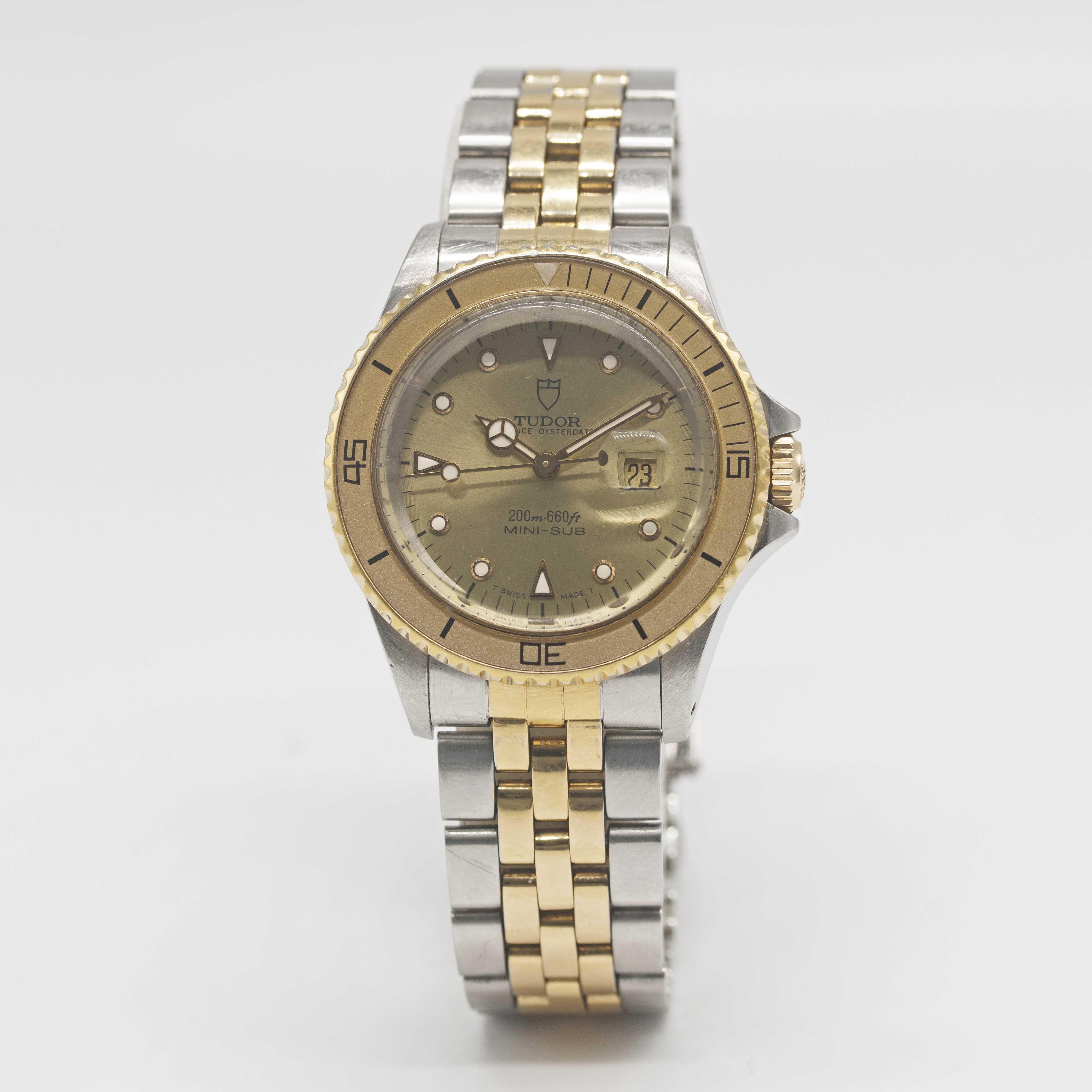 Lot 6 - A LADIES STEEL & GOLD ROLEX TUDOR PRINCE OYSTERDATE MINI SUB BRACELET WATCH CIRCA 1993, REF. 73091