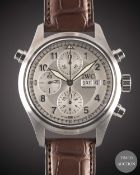 A GENTLEMAN'S STAINLESS STEEL IWC SPITFIRE DER DOPPELCHRONOGRAPH AUTOMATIC CHRONOGRAPH WRIST WATCH