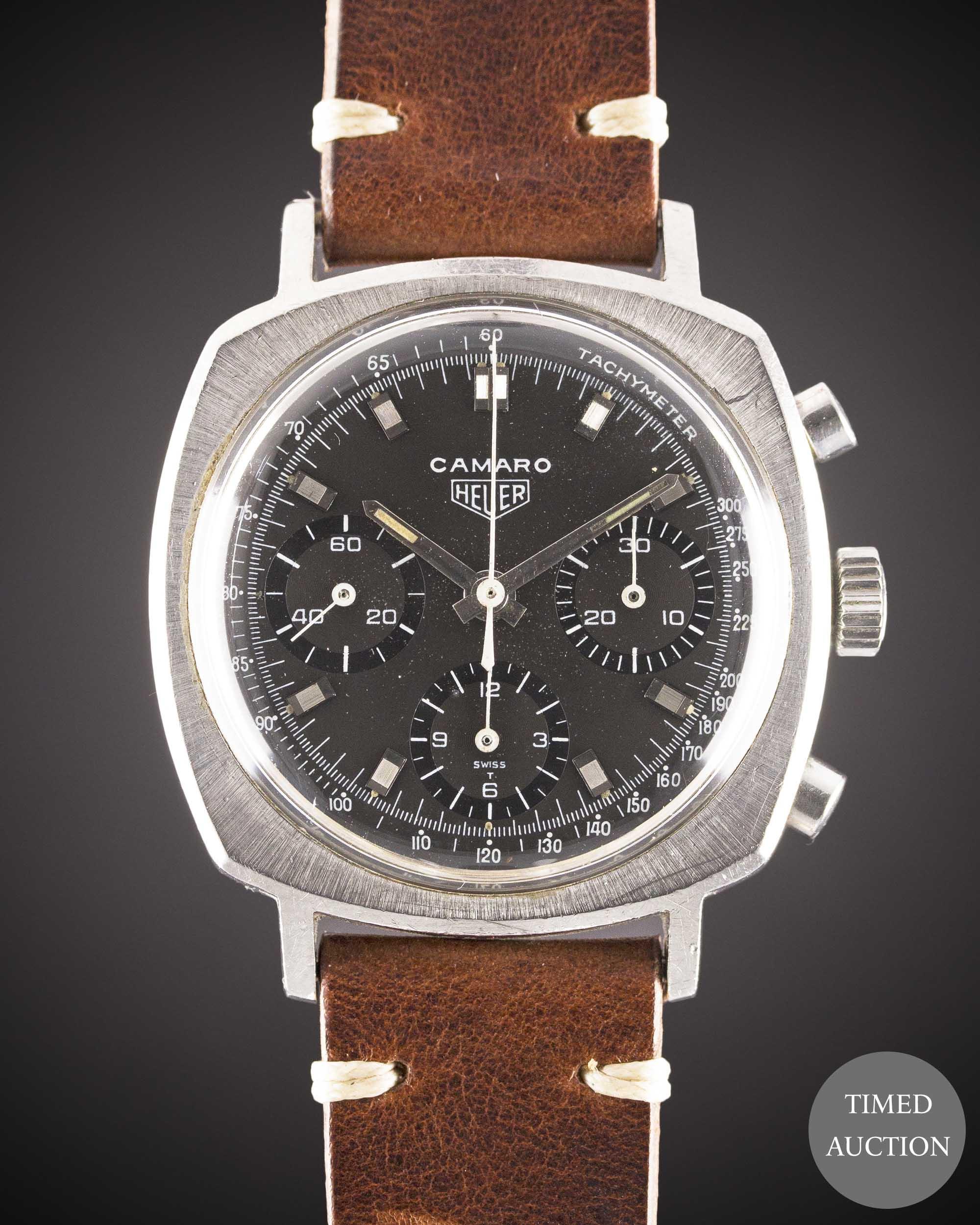 Lot 28 - A GENTLEMAN'S STAINLESS STEEL HEUER CAMARO CHRONOGRAPH WRIST WATCH CIRCA 1970, REF. 7220NT WITH