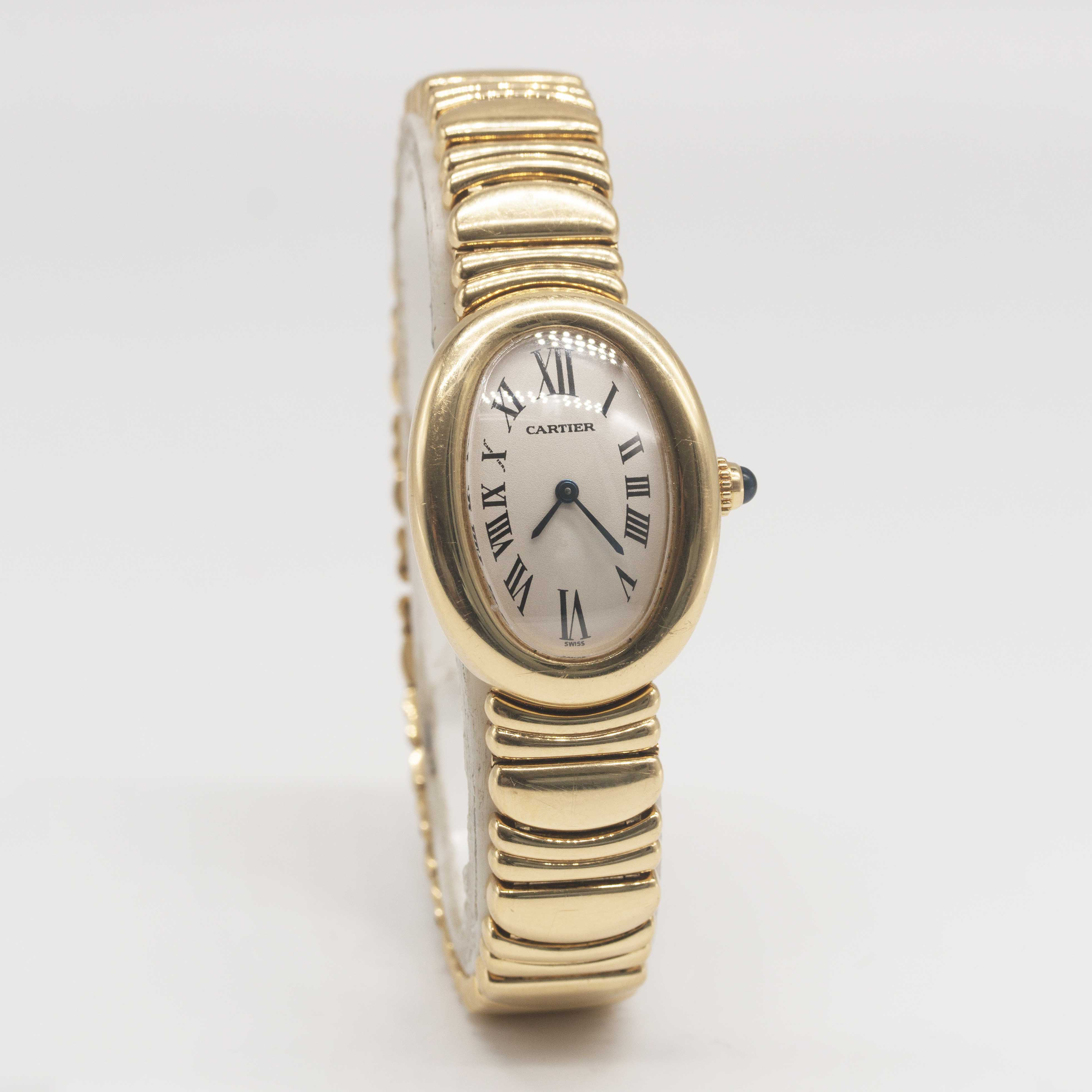 Lot 12 - A LADIES 18K SOLID YELLOW GOLD CARTIER BAIGNOIRE BRACELETWATCH CIRCA 1990s, REF. 1954 Movement: