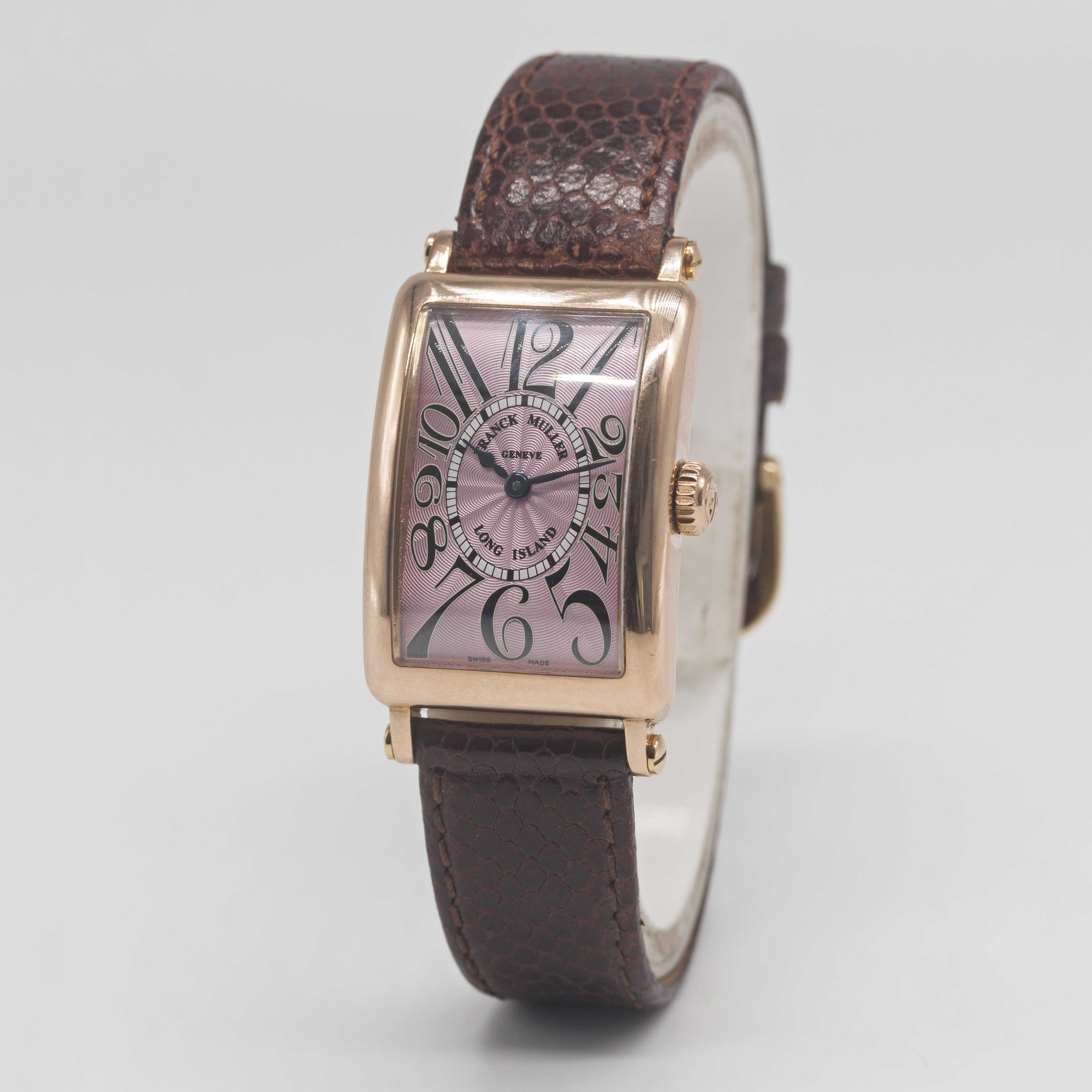 Lot 14 - A LADIES 18K SOLID ROSE GOLD FRANCK MULLER LONG ISLAND WRIST WATCH CIRCA 2005, REF. 900 QZ WITH PINK