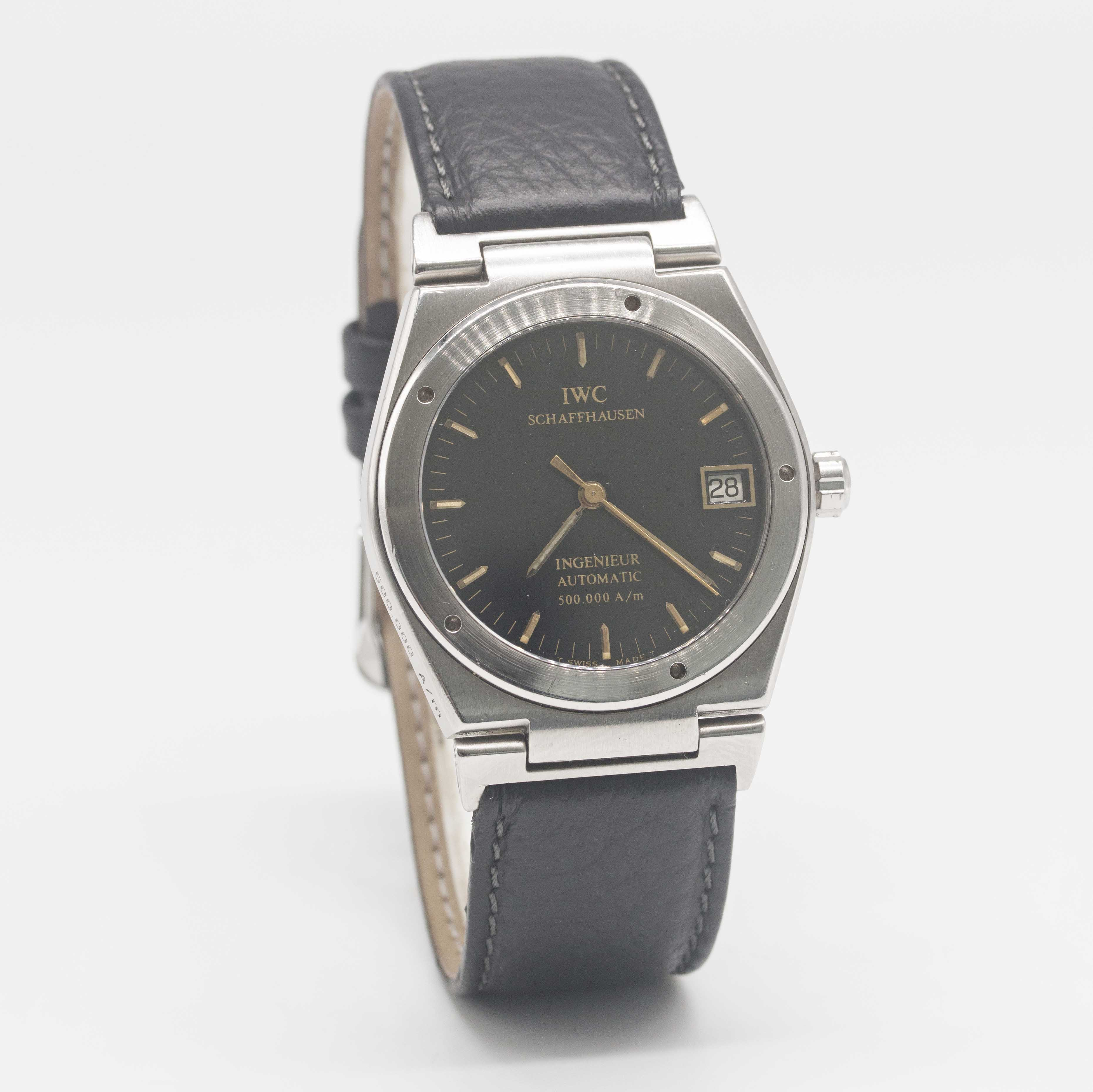 Lot 9 - A RARE GENTLEMAN'S STAINLESS STEEL IWC INGENIEUR AUTOMATIC 500.000 A/M WRIST WATCH CIRCA 1990,