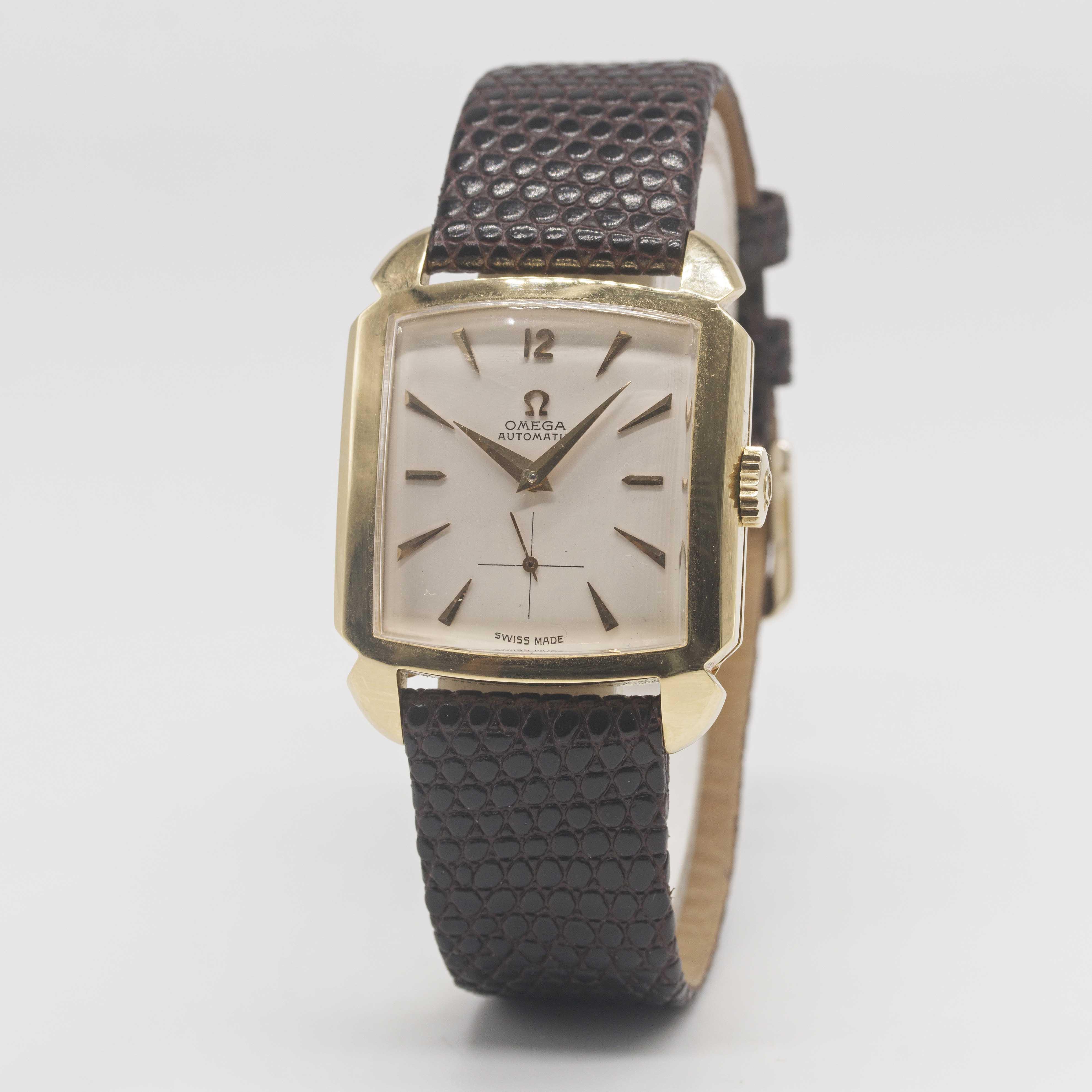 "Lot 18 - A GENTLEMAN'S 18K SOLID GOLD OMEGA AUTOMATIC ""CIOCCOLATONE"" WRIST WATCH CIRCA 1952, REF. 3950"