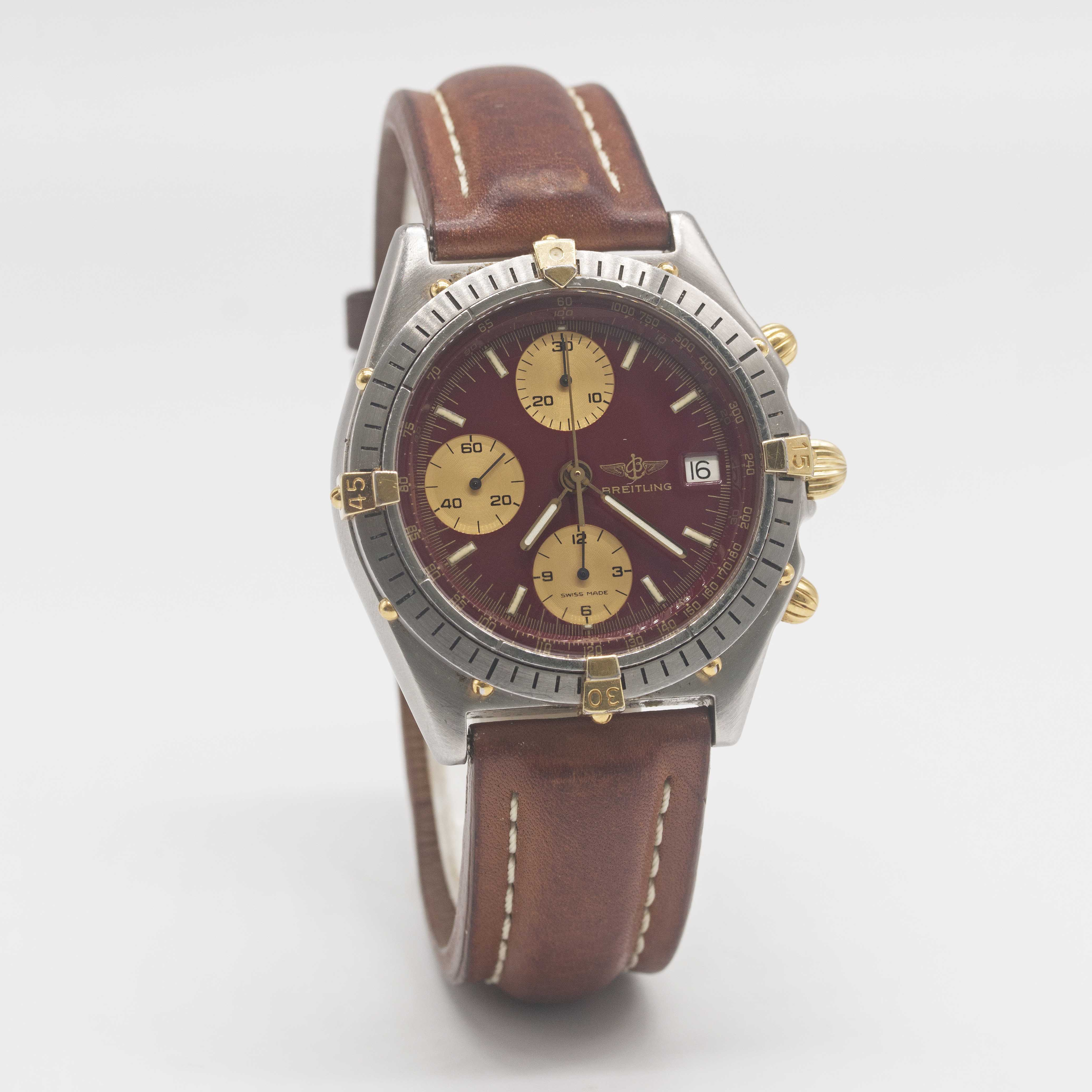 Lot 8 - A GENTLEMAN'S STEEL & GOLD BREITLING CHRONOMAT CHRONOGRAPH WRIST WATCH CIRCA 1990s, REF. 81.950 WITH