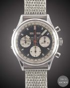 A GENTLEMAN'S LARGE SIZE STAINLESS STEEL WAKMANN TRIPLE CALENDAR CHRONOGRAPH WRIST WATCH CIRCA