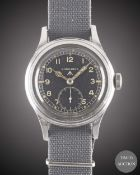 A GENTLEMAN'S STAINLESS STEEL BRITISH MILITARY LONGINES W.W.W. WRIST WATCH CIRCA 1945, PART OF