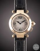 A LADIES 18K SOLID ROSE GOLD CARTIER PASHA WRIST WATCH DATED 2007, REF. 2812 WITH ORIGINAL BOX,