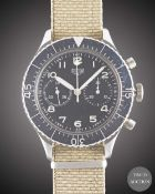 A GENTLEMAN'S STAINLESS STEEL GERMAN MILITARY HEUER BUND FLYBACK CHRONOGRAPH WRIST WATCH CIRCA 1970,