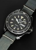 A RARE GENTLEMAN'S BLACK PVD COATED STAINLESS STEEL BRITISH MILITARY ROYAL NAVY SBS ISSUED CWC