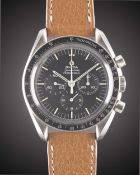 A GENTLEMAN'S STAINLESS STEEL OMEGA SPEEDMASTER PROFESSIONAL CHRONOGRAPH WRIST WATCH CIRCA 1972,