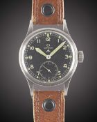 A GENTLEMAN'S STAINLESS STEEL BRITISH MILITARY OMEGA W.W.W. WRIST WATCH CIRCA 1945, PART OF THE ""