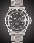 """A GENTLEMAN'S STAINLESS STEEL ROLEX OYSTER PERPETUAL DATE """"RED WRITING"""" SUBMARINER BRACELET WATCH"""