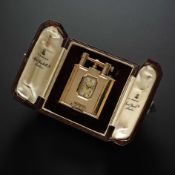 A RARE 9CT SOLID GOLD DUNHILL UNIQUE WATCH LIGHTER CIRCA 1930, WITH ORIGINAL FITTED DUNHILL BOX