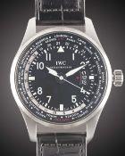 A GENTLEMAN'S STAINLESS STEEL IWC PILOTS WORLDTIMER GMT AUTOMATIC WRIST WATCH CIRCA 2014, REF.
