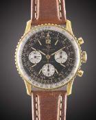 A GENTLEMAN'S GOLD PLATED BREITLING NAVITIMER CHRONOGRAPH WRIST WATCH CIRCA 1966, REF. 806 Movement: