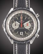 A GENTLEMAN'S STAINLESS STEEL BREITLING NAVITIMER CHRONO-MATIC AUTOMATIC CHRONOGRAPH WRIST WATCH