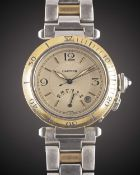 A GENTLEMAN'S SIZE STEEL & GOLD CARTIER PASHA AUTOMATIC POWER RESERVE BRACELET WATCH CIRCA 2000,