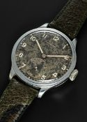 A VERY RARE GENTLEMAN'S CHROME PLATED LARGE SIZE LONGINES PILOTS WRIST WATCH DATED 1938, REF. 4092