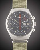 A RARE GENTLEMAN'S STAINLESS STEEL PORSCHE DESIGN ROYAL NAVY AUTOMATIC MILITARY CHRONOGRAPH WRIST