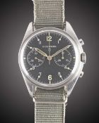 A RARE GENTLEMAN'S STAINLESS STEEL BRITISH MILITARY NEWMARK RAF PILOTS CHRONOGRAPH WRIST WATCH DATED