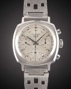 A GENTLEMAN'S STAINLESS STEEL HEUER CAMARO CHRONOGRAPH BRACELET WATCH CIRCA 1970, REF. 7220ST WITH