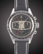 A GENTLEMAN'S STAINLESS STEEL LEJOUR RALLY CHRONOGRAPH WRIST WATCH CIRCA 1969 Movement: 17J,