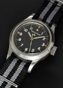 A RARE GENTLEMAN'S STAINLESS STEEL BRITISH MILITARY JAEGER LECOULTRE MARK 11 RAF PILOTS WRIST