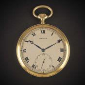 A RARE GENTLEMAN'S 18K SOLID GOLD CARTIER PARIS POCKET WATCH CIRCA 1930s Movement:15J, manual