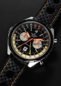 A RARE GENTLEMAN'S STAINLESS STEEL BREITLING GMT CHRONO-MATIC CHRONOGRAPH WRIST WATCH CIRCA 1970,