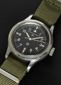 A GENTLEMAN'S STAINLESS STEEL BRITISH MILITARY IWC MARK 11 RAF PILOTS WRIST WATCH DATED 1951