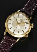 A RARE GENTLEMAN'S 18K SOLID GOLD GUBELIN IPSOVOX AUTOMATIC ALARM WRIST WATCH CIRCA 1960s, REF.
