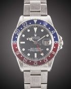 """A GENTLEMAN'S STAINLESS STEEL ROLEX OYSTER PERPETUAL GMT MASTER """"PEPSI"""" BRACELET WATCH CIRCA 1966,"""
