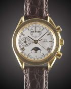 A GENTLEMAN'S 18K SOLID YELLOW GOLD OMEGA SPEEDMASTER TRIPLE CALENDAR MOONPHASE AUTOMATIC