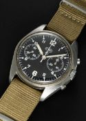 A RARE GENTLEMAN'S STAINLESS STEEL CWC CHRONOGRAPH WRIST WATCH CIRCA 1980, ISSUED TO THE BBC (
