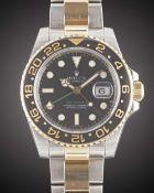 A GENTLEMAN'S STEEL & GOLD ROLEX OYSTER PERPETUAL DATE GMT MASTER II BRACELET WATCH DATED 2008, REF.