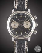 A GENTLEMAN'S STAINLESS STEEL VANTAGE CHRONOGRAPH WRIST WATCH CIRCA 1970, WITH GLOSS BLACK DIAL