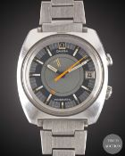 A GENTLEMAN'S STAINLESS STEEL OMEGA SEAMASTER MEMOMATIC ALARM BRACELET WATCH CIRCA 1971, REF. 166.