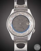 A GENTLEMAN'S STAINLESS STEEL SEIKO WORLD TIME AUTOMATIC BRACELET WATCH CIRCA 1966, REF. 6217-7010