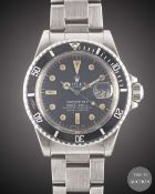 A GENTLEMAN'S STAINLESS STEEL ROLEX OYSTER PERPETUAL DATE SUBMARINER BRACELET WATCH CIRCA 1978, REF.