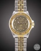 A LADIES STEEL & GOLD ROLEX TUDOR PRINCE OYSTERDATE MINI SUB BRACELET WATCH CIRCA 1993, REF. 73091