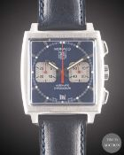 """A GENTLEMAN'S STAINLESS STEEL TAG HEUER """"STEVE MCQUEEN"""" MONACO AUTOMATIC CHRONOGRAPH WRIST WATCH"""